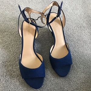 Nine West Blue Denim Open Toe Sandal Wedge Size 11